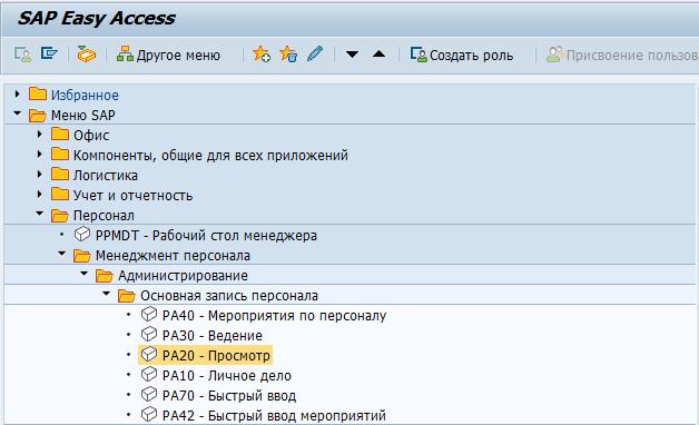 Навигация в системе управления персоналом SAP HCM (HR) 49