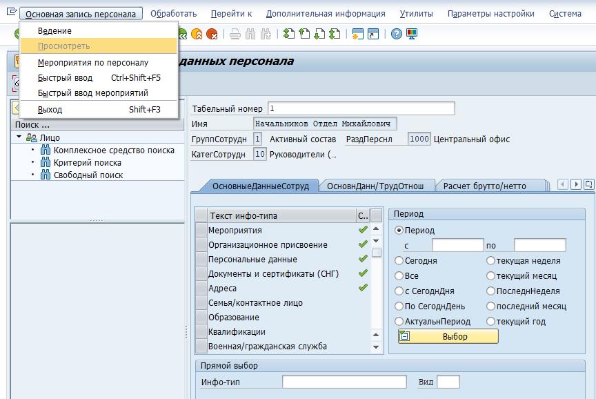 Навигация в системе управления персоналом SAP HCM (HR) 43